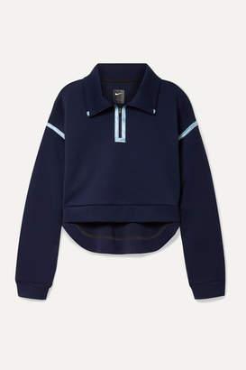 Nike City Ready Cropped Grosgrain-trimmed Stretch Sweatshirt - Navy