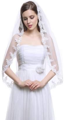 MISSYDRESS 1 Tier Fingertip Tulle Bridal Wedding Veil Applique Edge with Comb-V33
