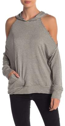 Elan International Striped Cold Shoulder Hoodie