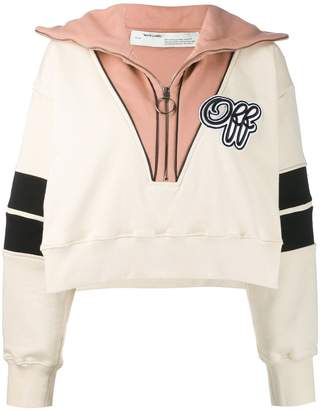 Off-White half zip crop sweatshirt