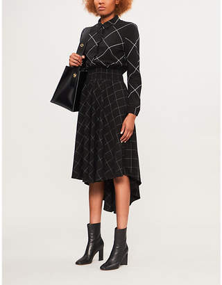 Maje Razak asymmetric checked woven dress