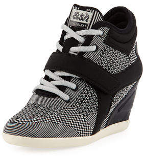 Ash Bebop Knit Lace-Up Wedge Sneaker