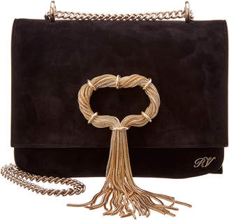 Roger Vivier Club Chain Suede Shoulder Bag