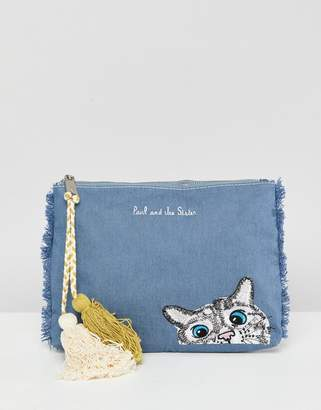Paul & Joe Sister Denim Cat Clutch Bag