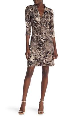 Amelia Surplice Wrap Print Dress