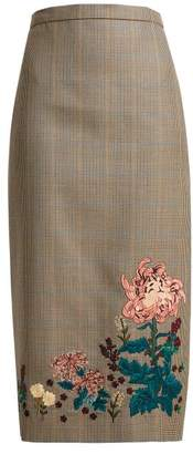 Erdem Maria Embroidered Wool Pencil Skirt - Womens - Beige Multi