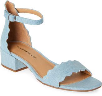 Lucky Brand Light Denim Norreys Scalloped Block Heel Sandals