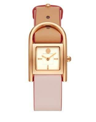 Tory Burch Rose Goldtone Thayer Stainless Steel and Leather-Strap Watch