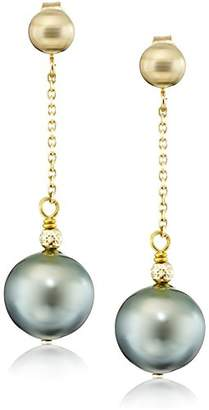 14k Yellow Gold 9-9.5mm Round Tahitian Cultured Pearl Tin Cup Wire Stud Dangle Earrings