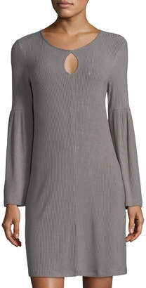 Neiman Marcus Bell-Sleeve Keyhole Jersey Dress, Gray