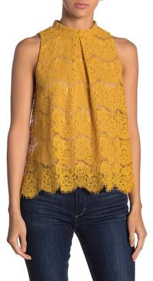 Love, Fire Mock Neck Lace Tank Top