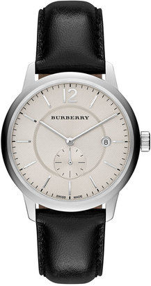 Burberry Unisex Swiss Black Leather Strap Watch 40mm BU10000 $695 thestylecure.com