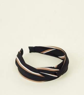New Look Black Multi Stripe Knot Headband