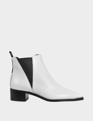 Acne Studios Jensen Grained Ankle Boots in White Calfskin