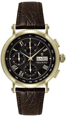 Dreyfuss & Co DGS00051/16 Men's 1926 Automatic Chronograph Leather Strap Watch, Brown/Black