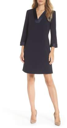 Tahari Satin Trim Crepe Shift Dress