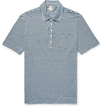Massimo Alba Slim-Fit Striped Linen-Jersey Polo Shirt