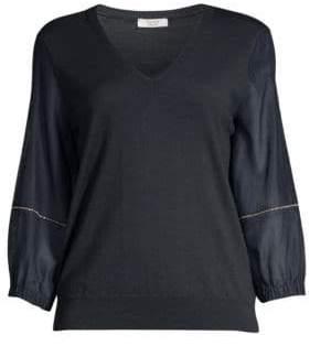 Peserico Blouson Sleeve V-Neck Sweater