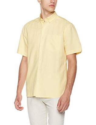 Isle Bay Linens Men's Standard Fit Short Sleeve Linen Cotton Button-Down Shirt