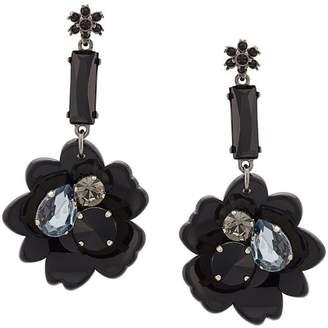 Oscar de la Renta crystal embellished flower drop earrings