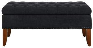 Accentrics Home Charcoal Hinged Top Button Tufted Storage Bed Bench