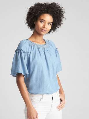 Gap Flutter Sleeve Smocked Neck Top in TENCEL