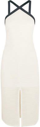 Off-White Flagpole - Carter Mesh-paneled Jersey Halterneck Dress