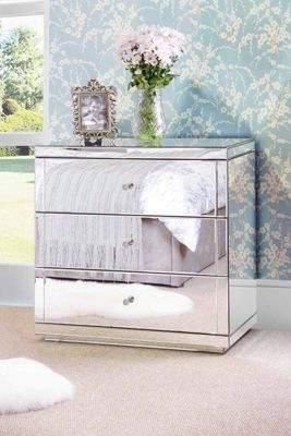 Flavia My Furniture My-Furniture Mirrored Three Drawer Chest