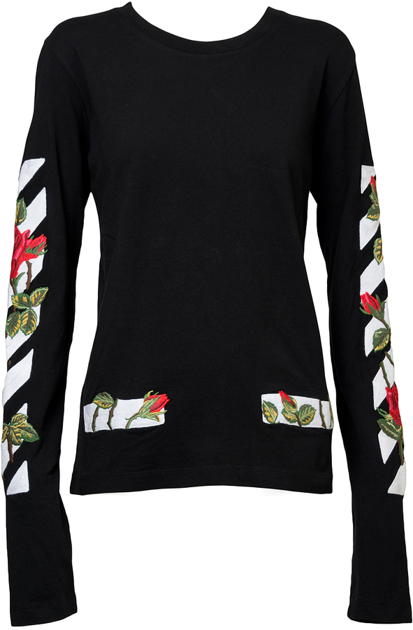 Off-White Embroidered Roses Long-Sleeve T-Shirt