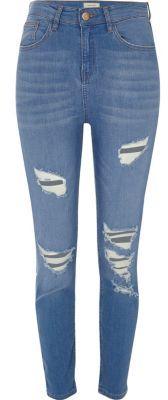 River IslandRiver Island Womens Blue wash Lori ripped skinny jeans