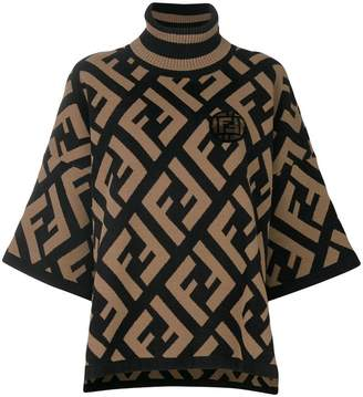 Fendi logo flared turtle-neck sweater