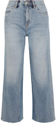 MiH Jeans Caron Cropped High-rise Wide-leg Jeans - Blue