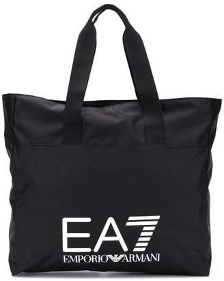 Emporio Armani Ea7 logo print tote bag