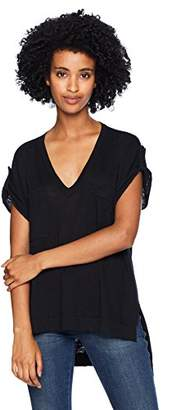 BCBGMAXAZRIA Women's Short-Sleeve V-Neck High-Low Top