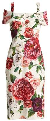 Dolce & Gabbana Brocade Peony And Rose Print Dress - Womens - White Multi