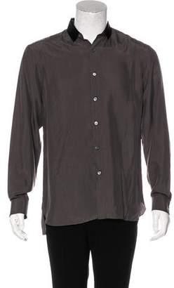 Lanvin Grosgrain-Trimmed Silk Shirt