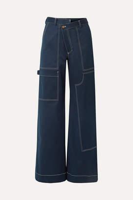 Monse Rope-trimmed Cotton-blend Satin Wide-leg Pants - Navy