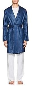 Barneys New York Men's Cotton-Linen Robe - Navy