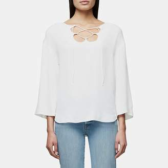 Frame Mirrored Lace Up Blouse