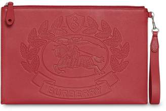 Burberry Embossed Crest Leather Zip Pouch