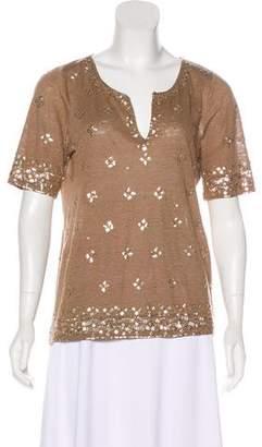 Calypso Embellished Linen Top