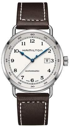 Hamilton Khaki Automatic Leather Strap Watch, 43mm