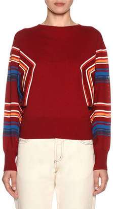 Marni Butterfly-Sleeve Striped Knit Pullover Sweater