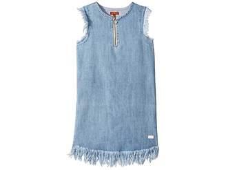 7 For All Mankind Kids Zip Front Flutter Sleeve Denim Dress (Big Kids)