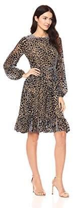 Cynthia Rowley Women's Velvet Long Sleeve Flounce Dress