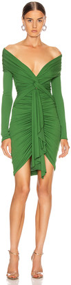 Alexandre Vauthier Ruched Tie Mini Dress in Moss | FWRD