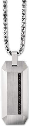 """Bulova Men Diamond Accent Beveled Dog Tag Pendant Necklace in Stainless Steel, 26"""" + 2"""" Extender"""