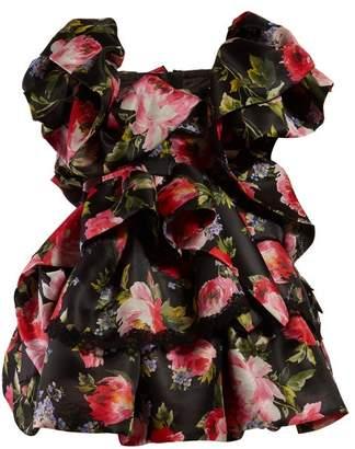 Dolce & Gabbana Floral Print Ruffled Silk Blend Mini Dress - Womens - Black Multi
