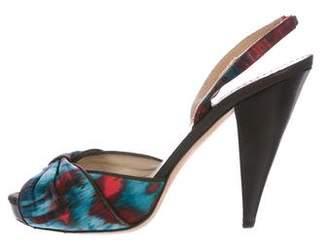Oscar de la Renta Print Slingback Sandals