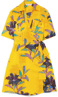 Diane von Furstenberg Floral-print Cotton And Silk-blend Gauze Mini Wrap Dress - Marigold